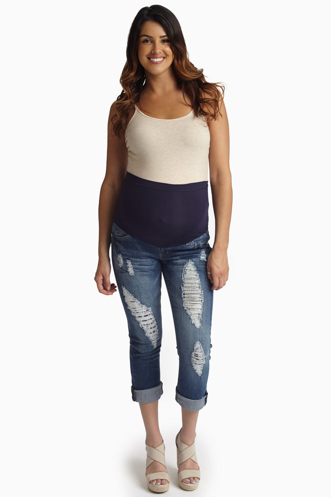 Blue Distressed Embellished Maternity Cropped Jeans