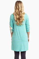 Aqua Thin Striped Crochet Sleeve Maternity Top