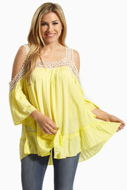 Yellow Crochet Accent Open Shoulder Blouse