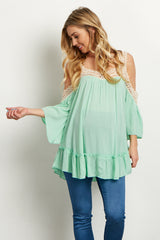 Mint Crochet Accent Open Shoulder Maternity Blouse
