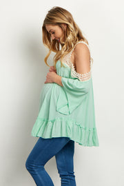 Mint Green Crochet Accent Open Shoulder Blouse