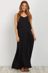 Black Overlay Chiffon Maternity Maxi Dress