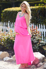 Pink Overlay Chiffon Maternity Maxi Dress
