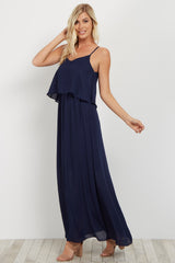 Navy Overlay Chiffon Maxi Dress