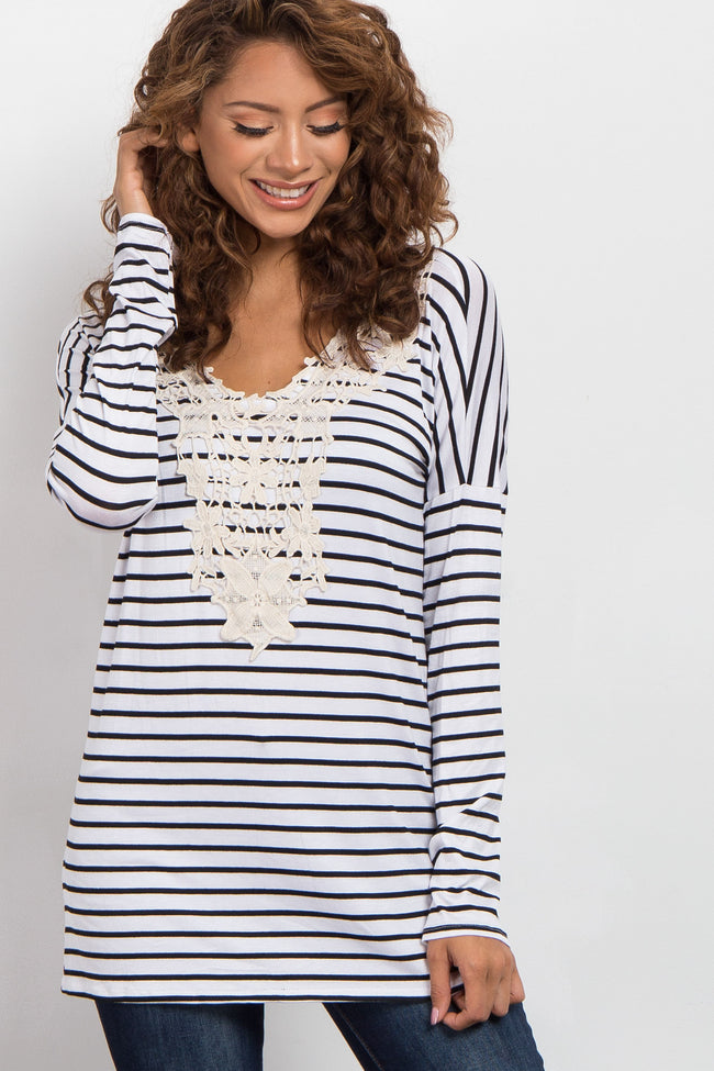 Black Striped Crochet Neckline Maternity Top