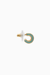 Mint Green Gold Hoop Stud Earring