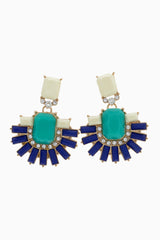 Aqua Multi-Color Rhinestone Accent Drop Earring