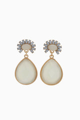 Ivory Grey Floral Teardrop Jewel Earring