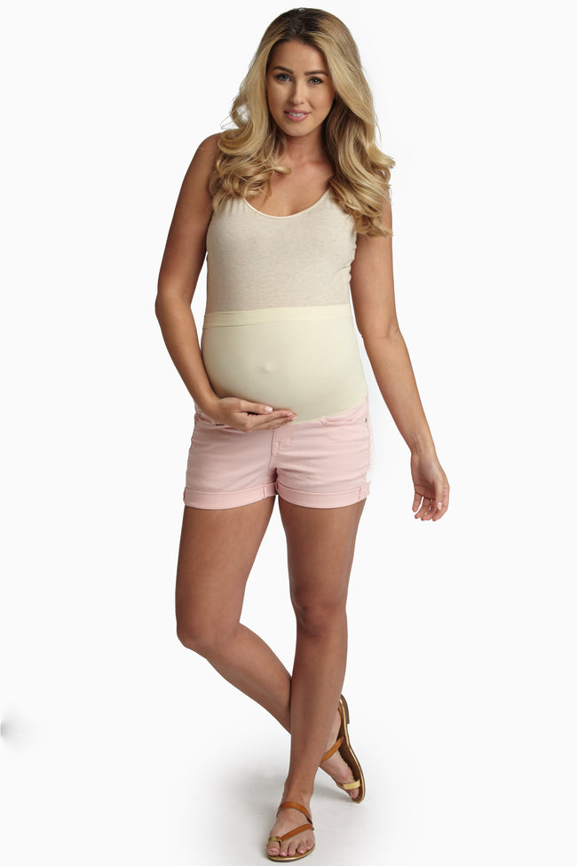 Pink Cuffed Maternity Jean Shorts
