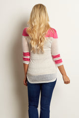 Pink White Colorblock Transitional Maternity Top