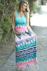 Jade Multi-Color Printed Bottom Maternity Maxi Dress