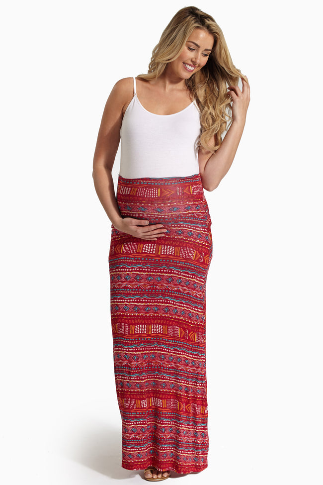 Burgundy Jade Tribal Print Maternity Maxi Skirt