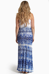 Shades of Blue Printed Maternity Maxi Skirt