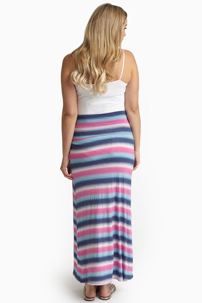 Blue Aqua Pink Striped Maternity Maxi Skirt