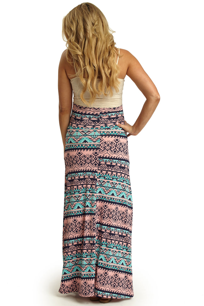 Light Pink Aqua Printed Maternity Maxi Skirt