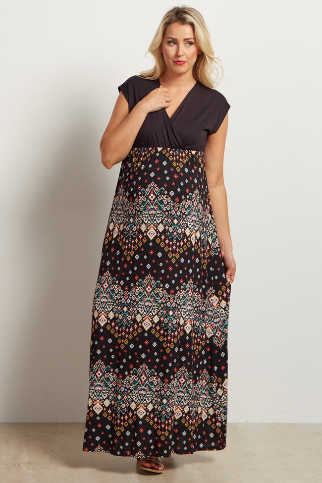 Black Printed Bottom Cap Sleeve Maternity/Nursing Maxi Dress