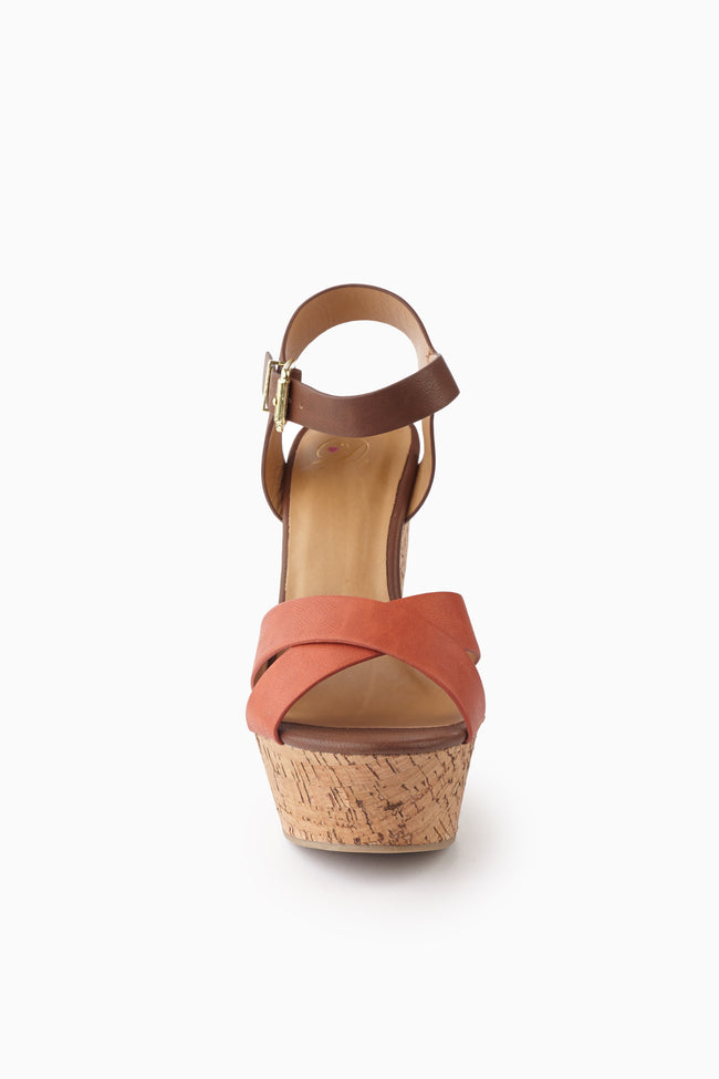 Orange Brown Colorblock Strap Wedge
