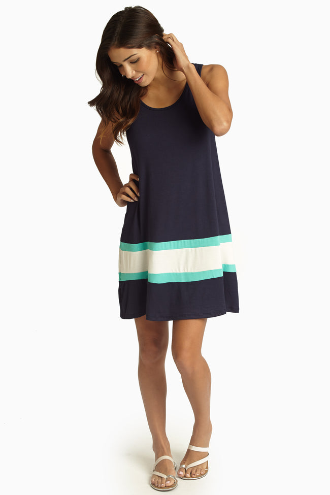 Navy Aqua White Colorblock Dress