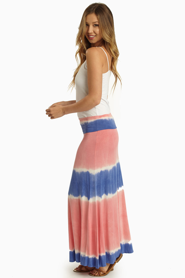 Coral Periwinkle Tie Dye Print Maternity Maxi Skirt
