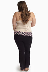 Pink Black Ikat Printed Waistband Plus Size Maternity Yoga Pants