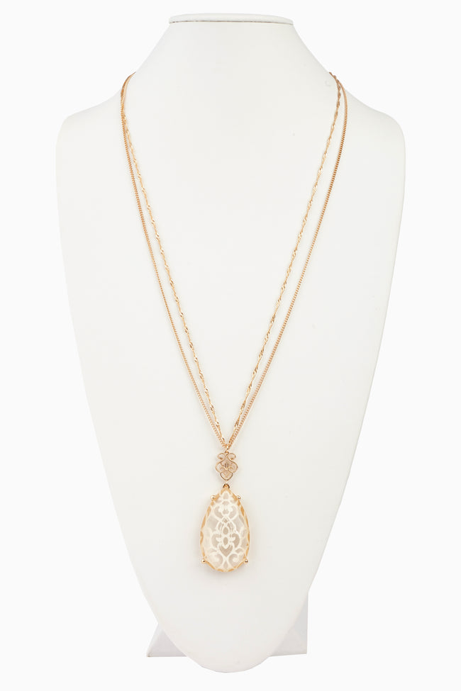 Ivory Gold Patterned Teardrop Pendant Long Necklace