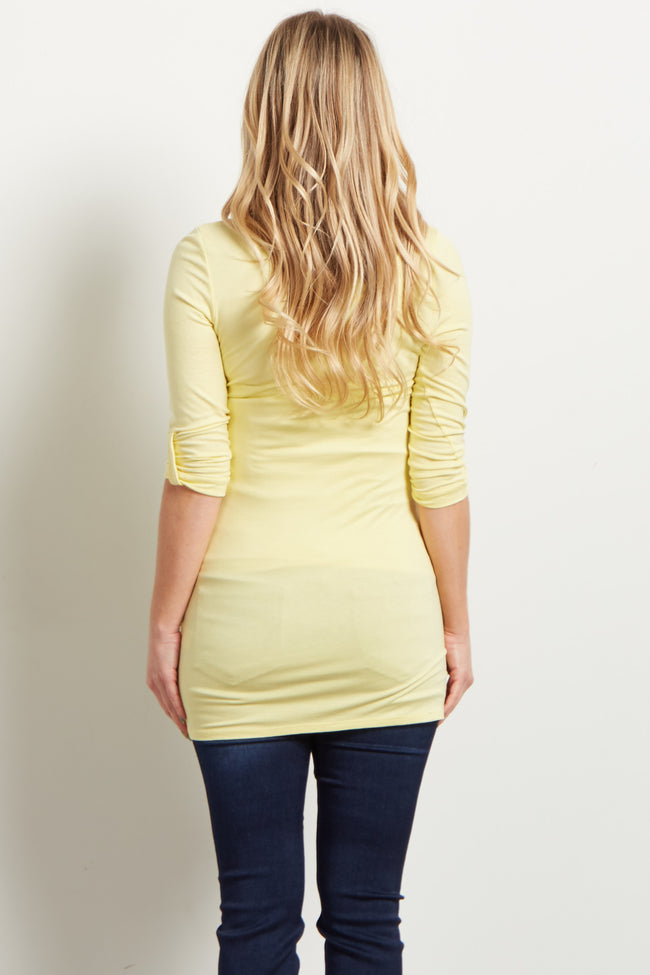 Yellow 3/4 Sleeve Fitted Maternity Top