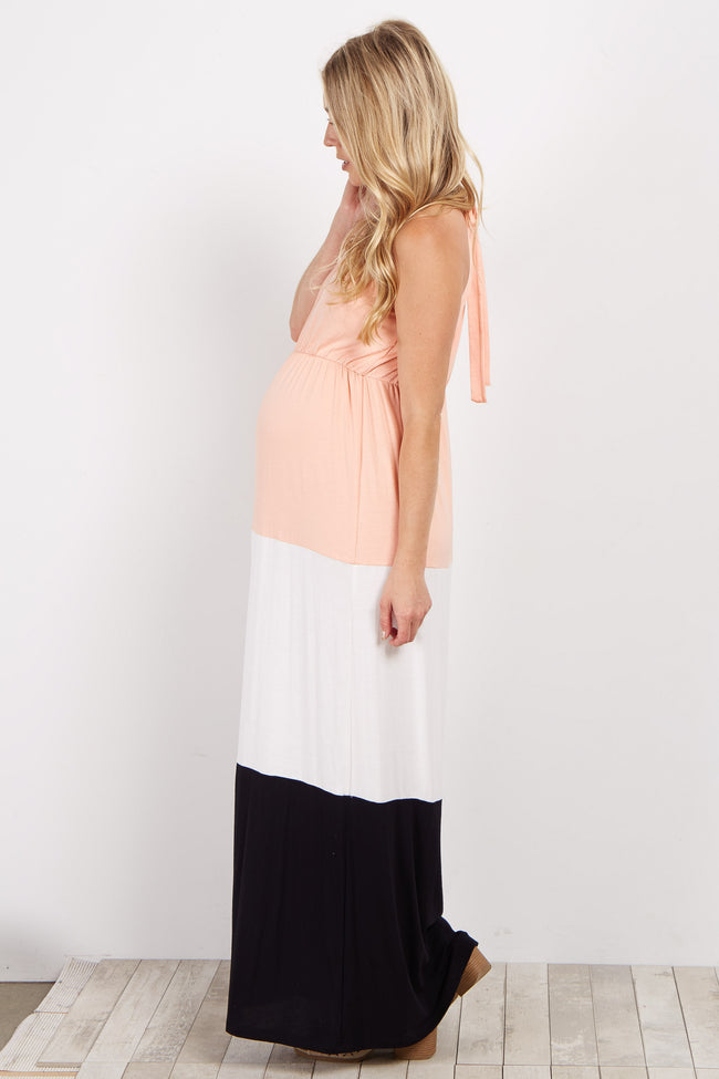 Peach White Black Colorblock Halter Maternity Maxi Dress