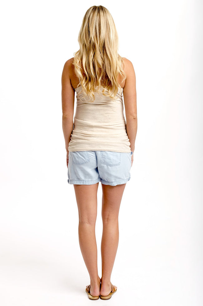 Light Blue Chambray Maternity Shorts
