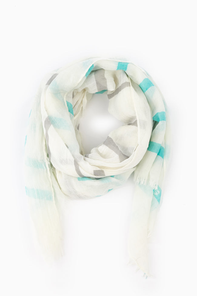 Aqua Grey Striped Lightweight Scarf