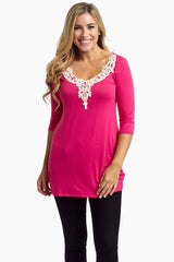 Fuchsia Crochet Neckline 3/4 Sleeve Fitted Maternity Top