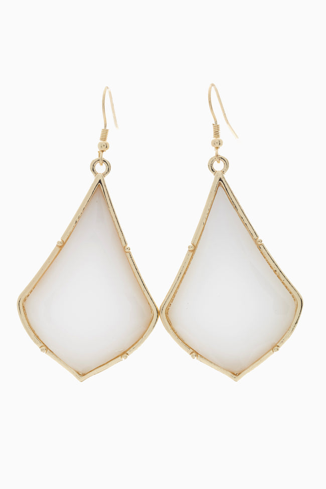 White Retro Teardrop Gemstone Drop Earring