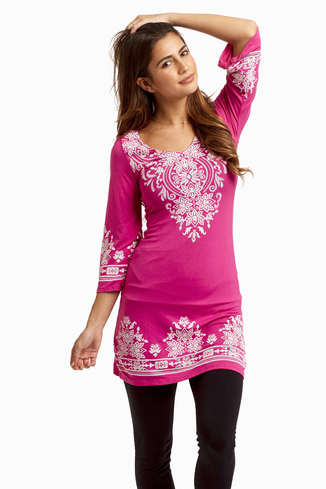 Fuchsia Printed 3/4 Sleeve Maternity Tunic