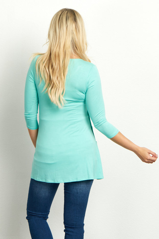 Aqua Basic Button Accent 3/4 Sleeve Maternity Top