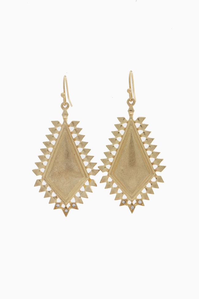 Gold Tribal Rhinestone Accent Drop Earring