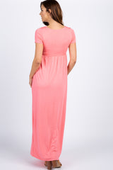 Pink Solid Short Sleeve Maternity Maxi Dress