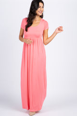 Pink Solid Short Sleeve Maxi Dress
