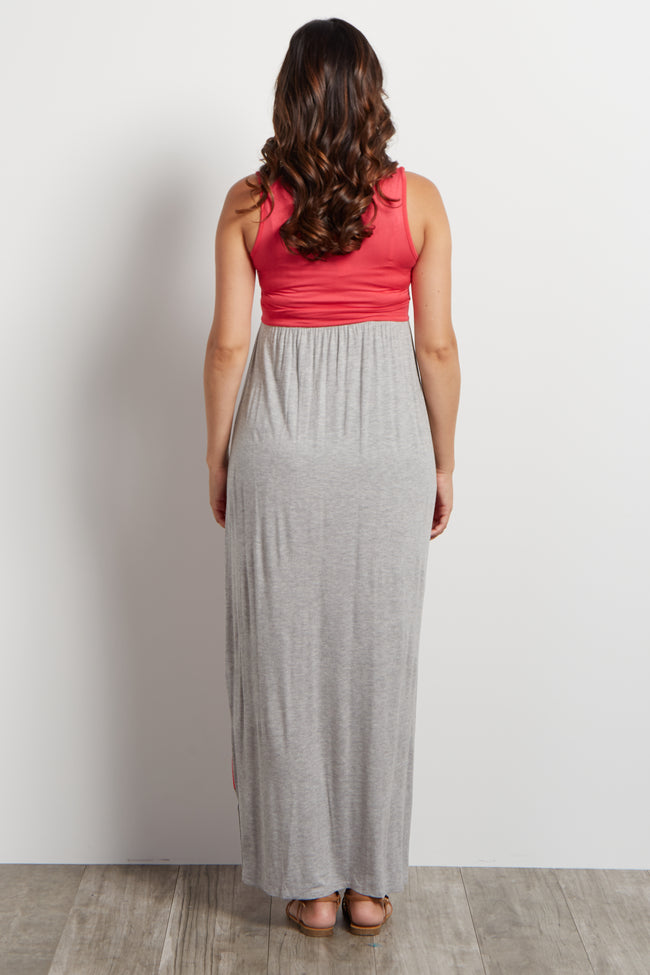 Grey Coral Striped Bottom Colorblock Maternity Maxi Dress