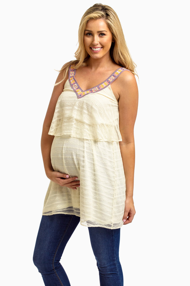 Ivory Lace Overlay Embroidered Neck Maternity Tank Top