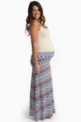Blue Multi-Color Vibrant Printed Maternity Maxi Skirt