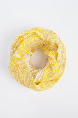 Yellow Ivory Taupe Paisley Infinity Scarf