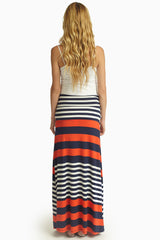 Red Navy White Alternating Striped Maternity Maxi Skirt