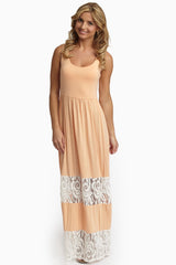 Peach Lace Colorblock Maternity Maxi Dress