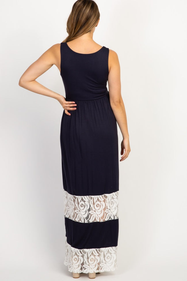 PinkBlush Navy Lace Colorblock Maternity Maxi Dress
