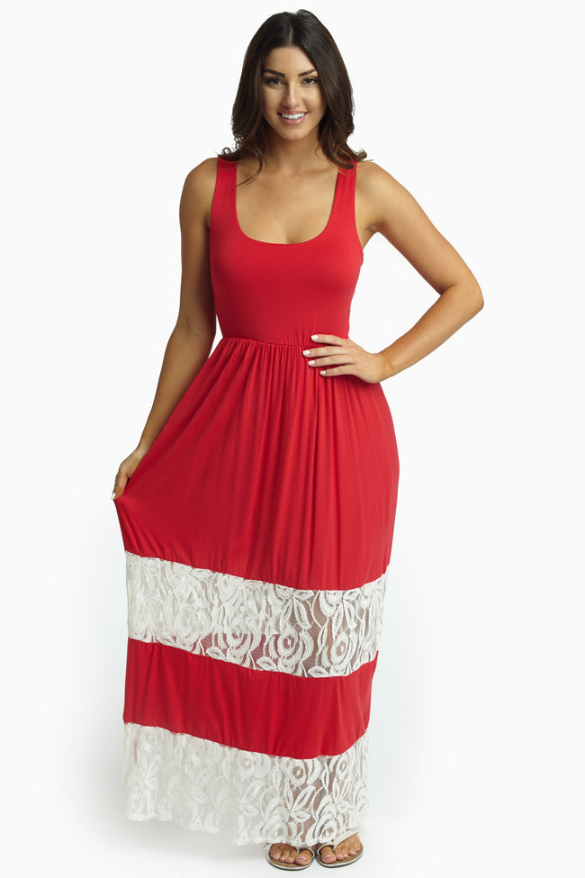 Red Lace Colorblock Maxi Dress