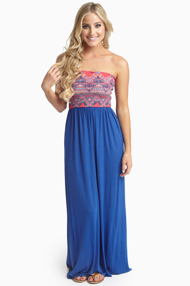 Royal Fuchsia Printed Top Strapless Maternity Maxi Dress