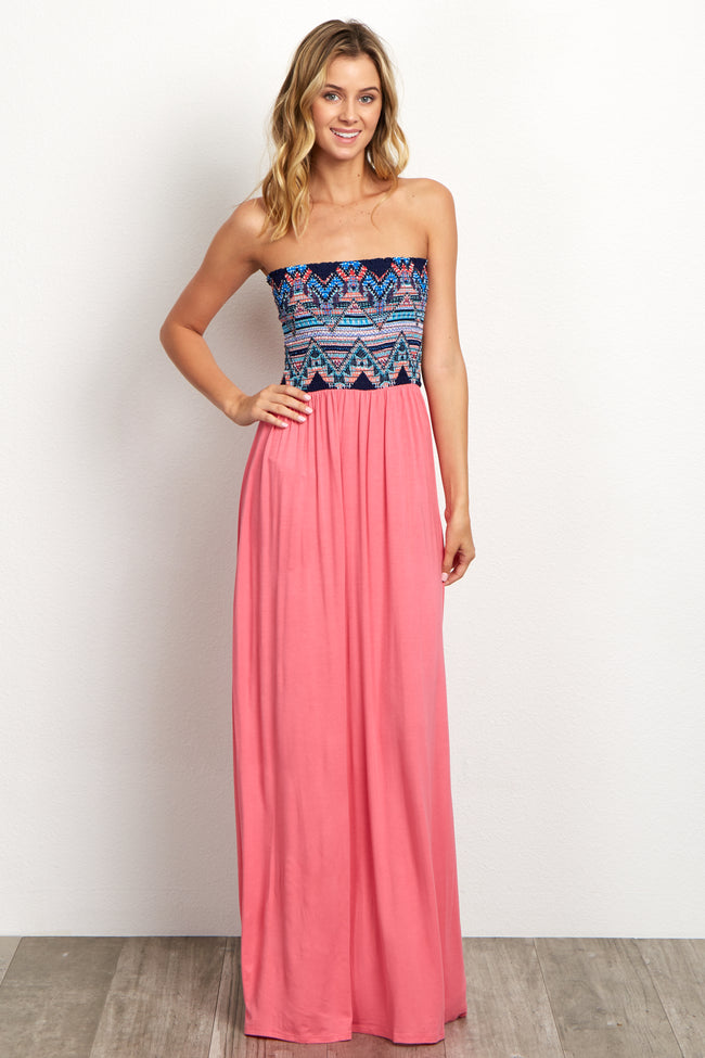 Pink Navy Printed Top Strapless Maternity Maxi Dress