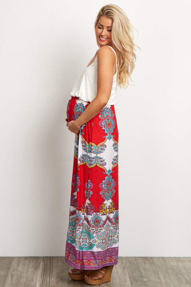 Red Floral Paisley Printed Bottom Maternity Maxi Dress