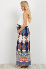 Navy Floral Paisley Printed Bottom Maternity Maxi Dress