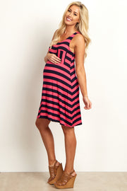 Fuchsia Striped Maternity Tank Dress