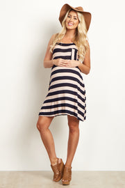 Blush Pink Striped Maternity Tank Dress
